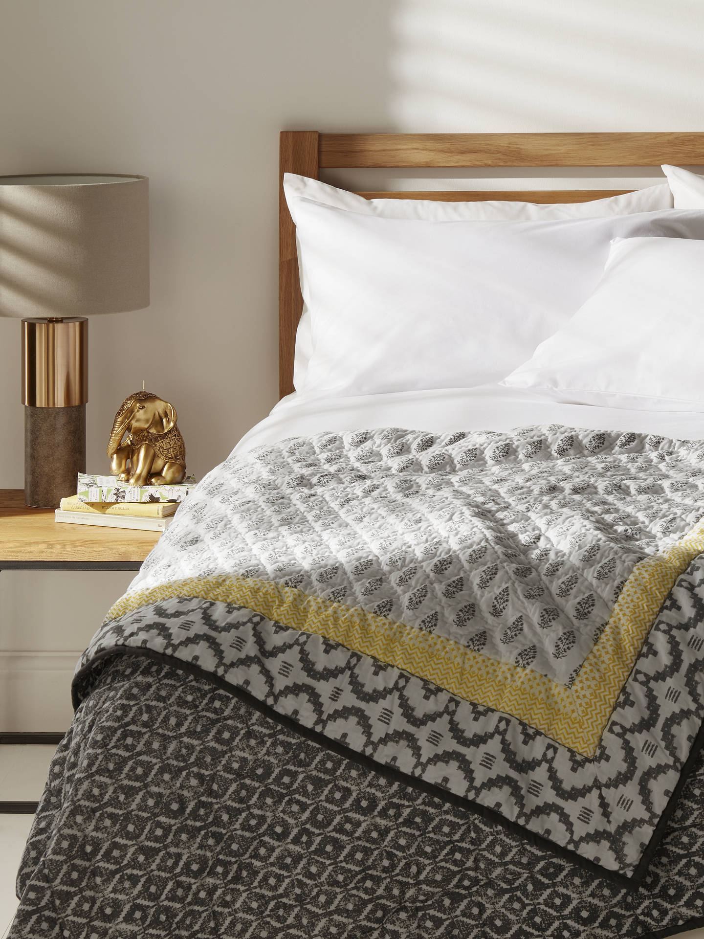 Buy John Lewis & Partners Fusion Orchha Quilted Bedspread, Saffron/Grey Online at johnlewis.com