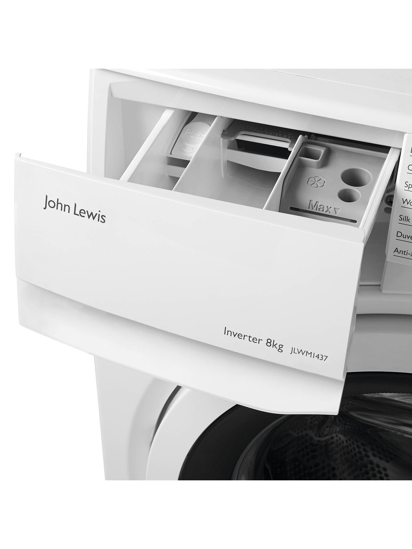 John Lewis & Partners JLWM1437 Freestanding Washing Machine, 8kg Load, A+++  Energy Rating, 1600rpm Spin, White