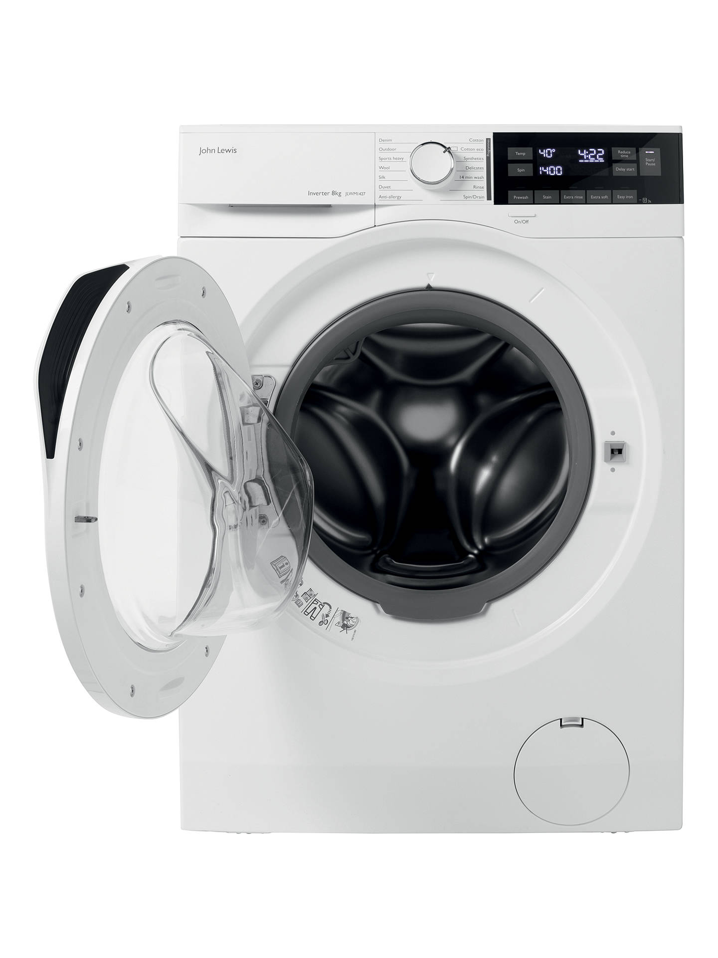 John Lewis & Partners JLWM1427 Washing Machine, 8kg Load, A+++ Energy  Rating, 1400rpm Spin, White