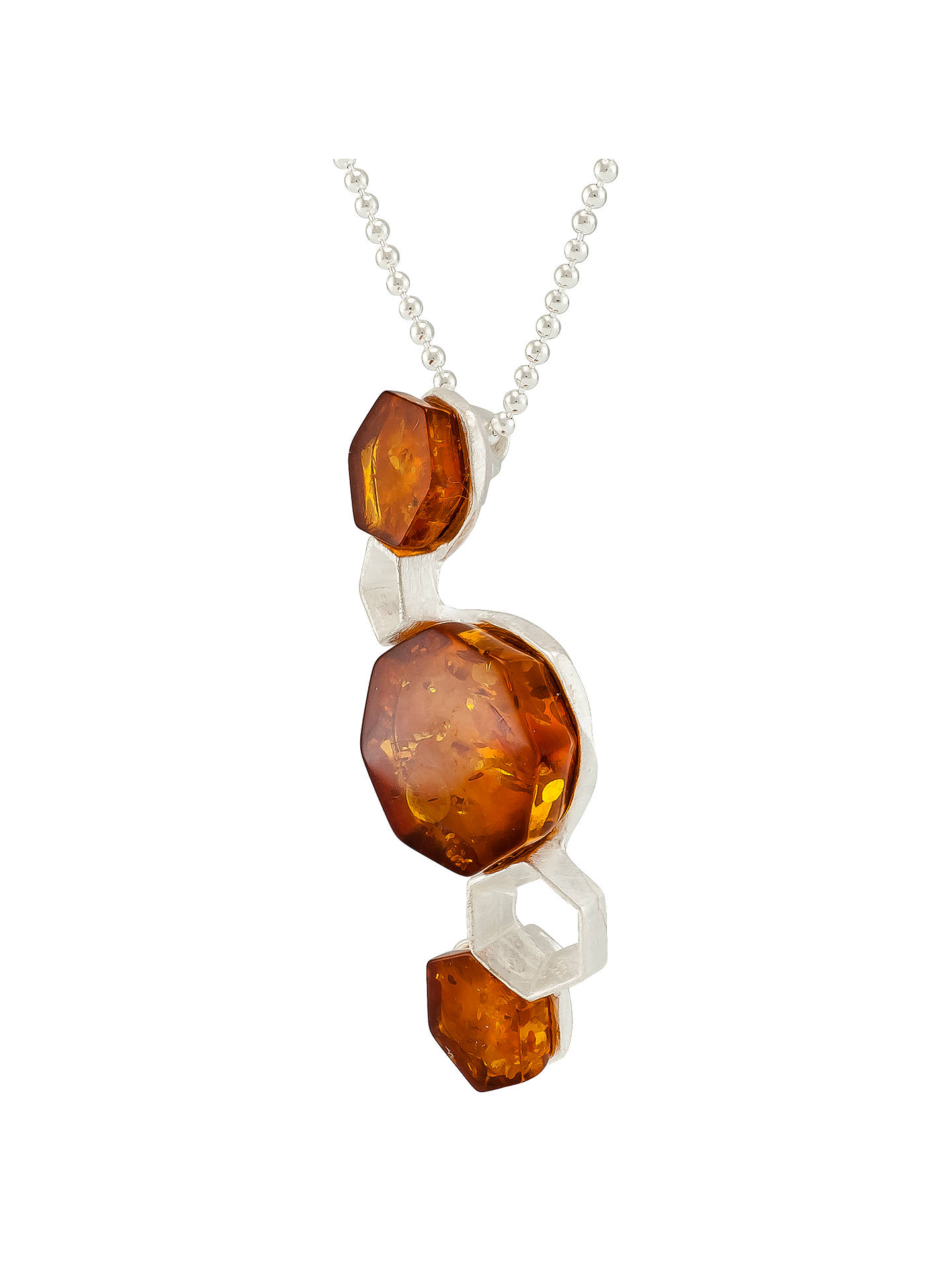 Buy Be-Jewelled Hexagonal Cognac Amber Pendant Necklace, Silver/Cognac Online at johnlewis.com
