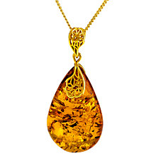 Buy Be-Jewelled Y7-P6880GP Pear Amber Pendant Necklace, Gold Online at johnlewis.com