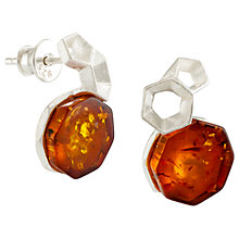 Buy Be-Jewelled Amber Hexagonal Drop Earrings, Silver/Cognac Online at johnlewis.com