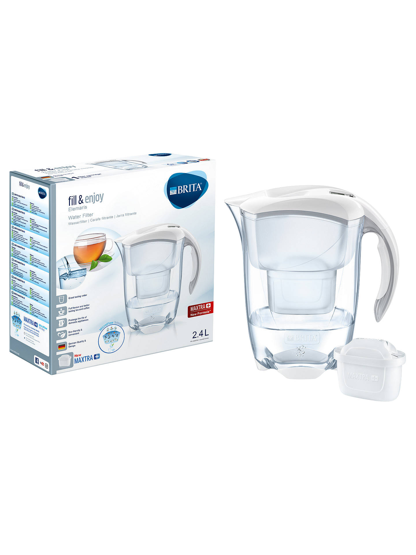 brita maxtra elemaris water filter jug cool white 2 4l. Black Bedroom Furniture Sets. Home Design Ideas