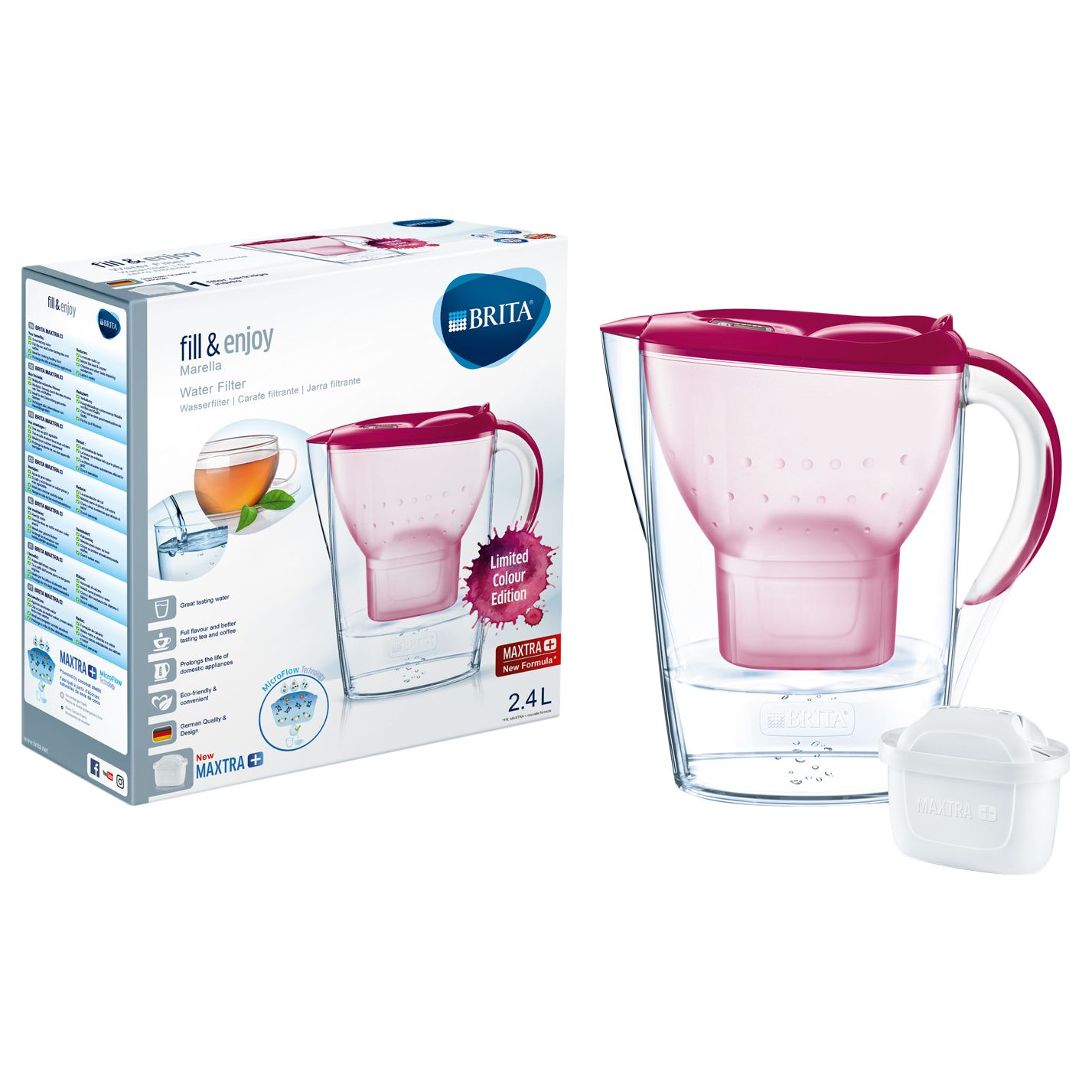 Brita Maxtra+ Marella Water Filter Jug, Cool Berry, 2 4L at John
