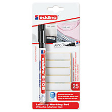 Buy Edding Laundry Marking Set Pen And Labels, Black Online at johnlewis.com