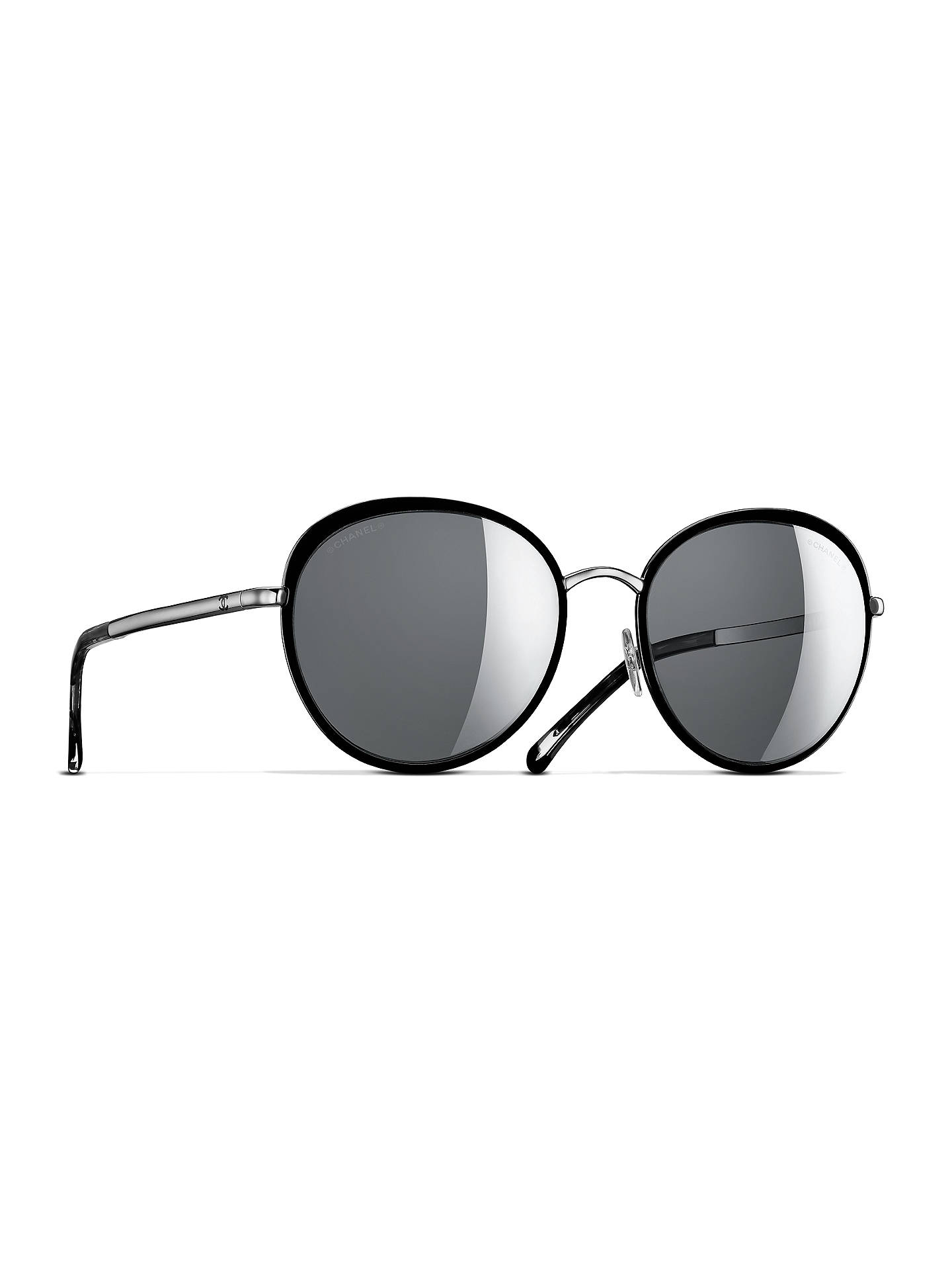 60484d1dd5 BuyCHANEL Round Sunglasses CH4206 Black Silver Online at johnlewis.com ...