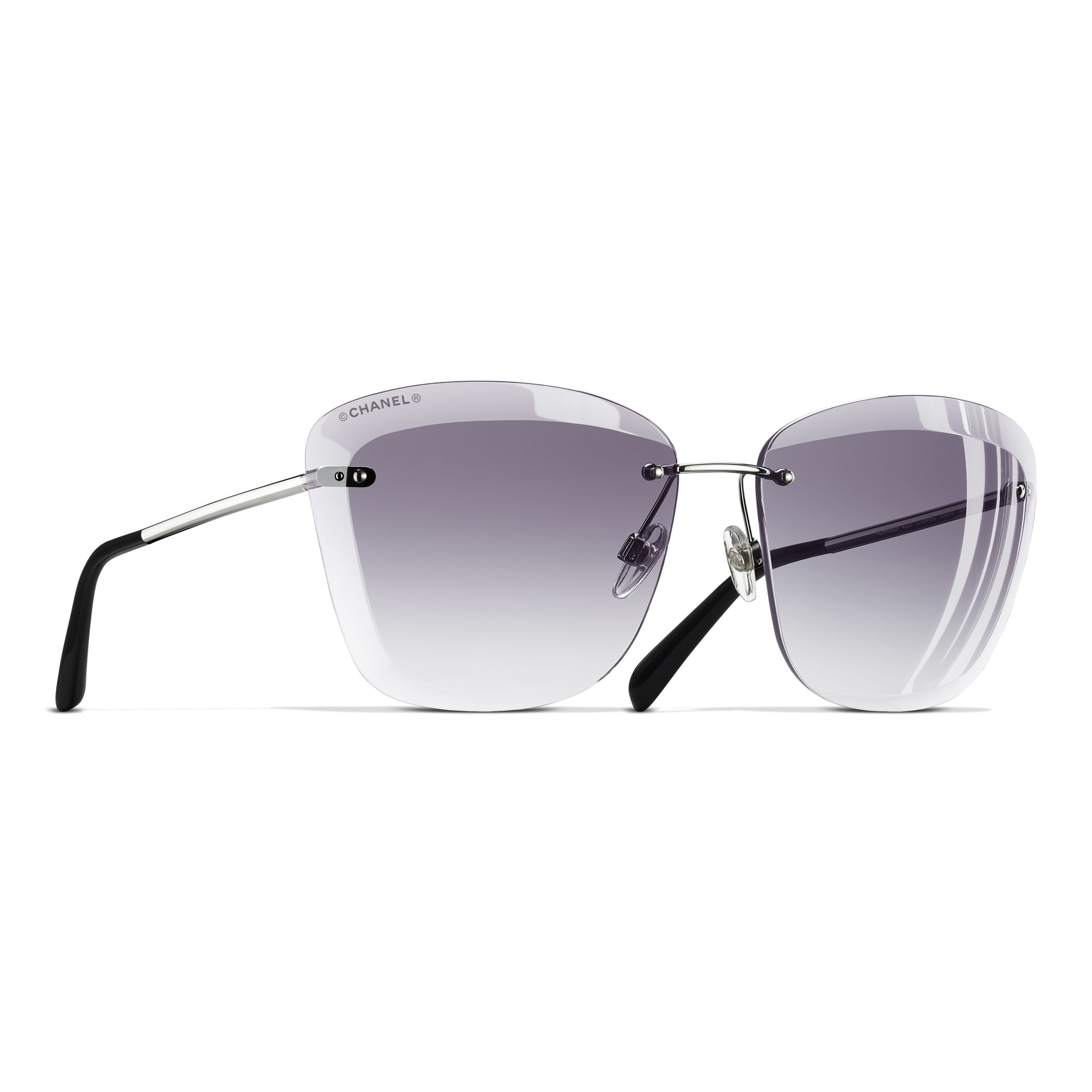 0e1e810e9a CHANEL Butterfly Sunglasses CH4221 Silver Grey at John Lewis   Partners