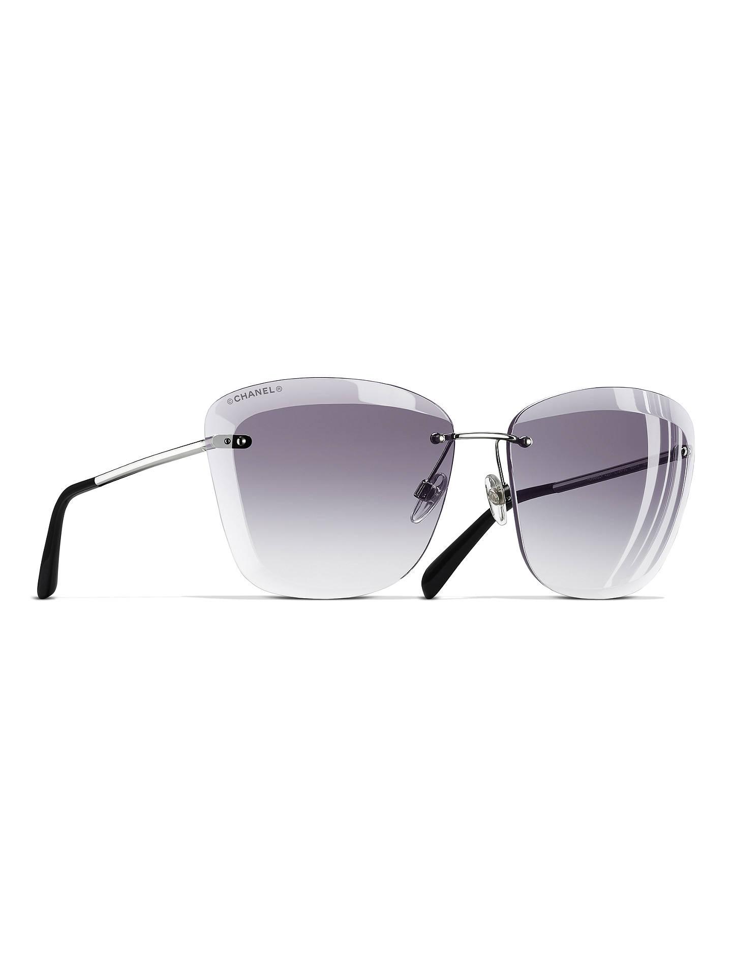 c738258650 BuyCHANEL Butterfly Sunglasses CH4221 Silver Grey Online at johnlewis.com  ...