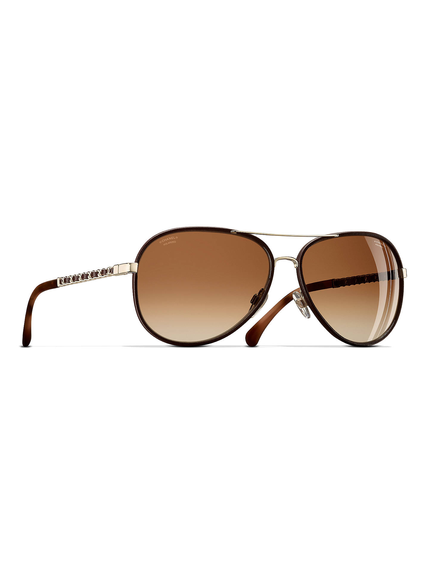 38fcd0028f BuyCHANEL Pilot Sunglasses CH4219Q Gold Brown Online at johnlewis.com ...