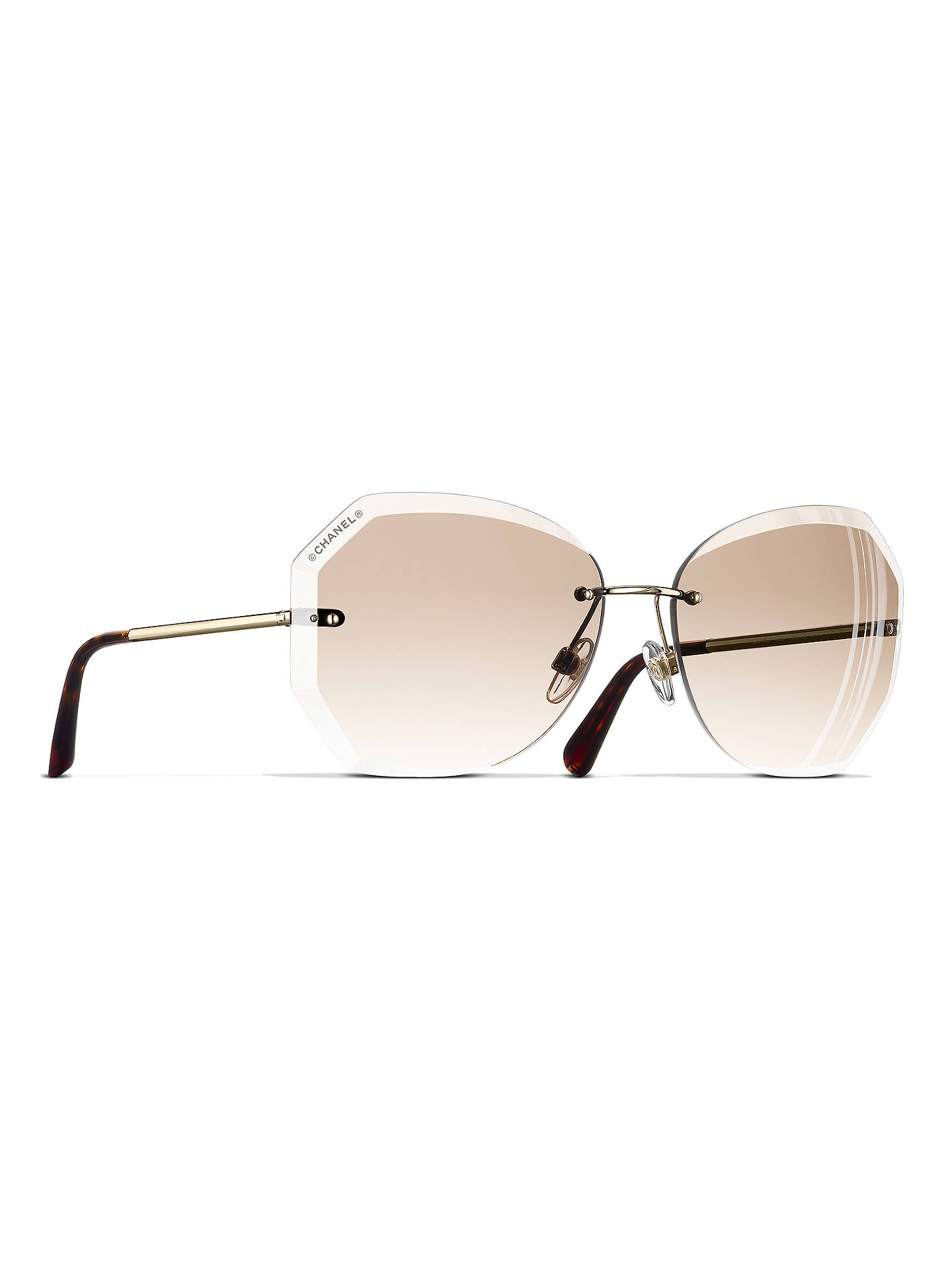 0aab4c10f6cf Buy CHANEL Round Sunglasses CH4220 Gold Beige Online at johnlewis.com ...