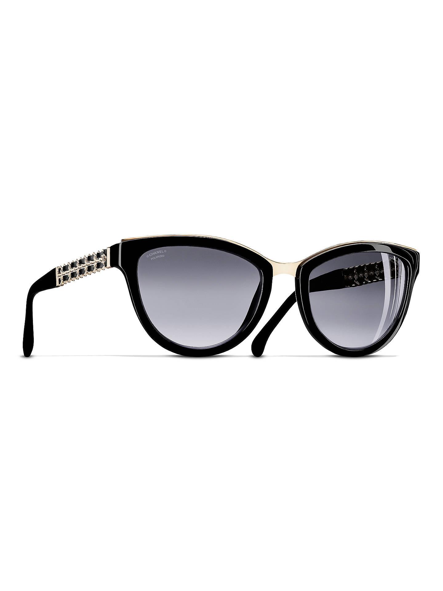 CHANEL Polarised Cat Eye Sunglasses CH5361Q Black at John Lewis ...