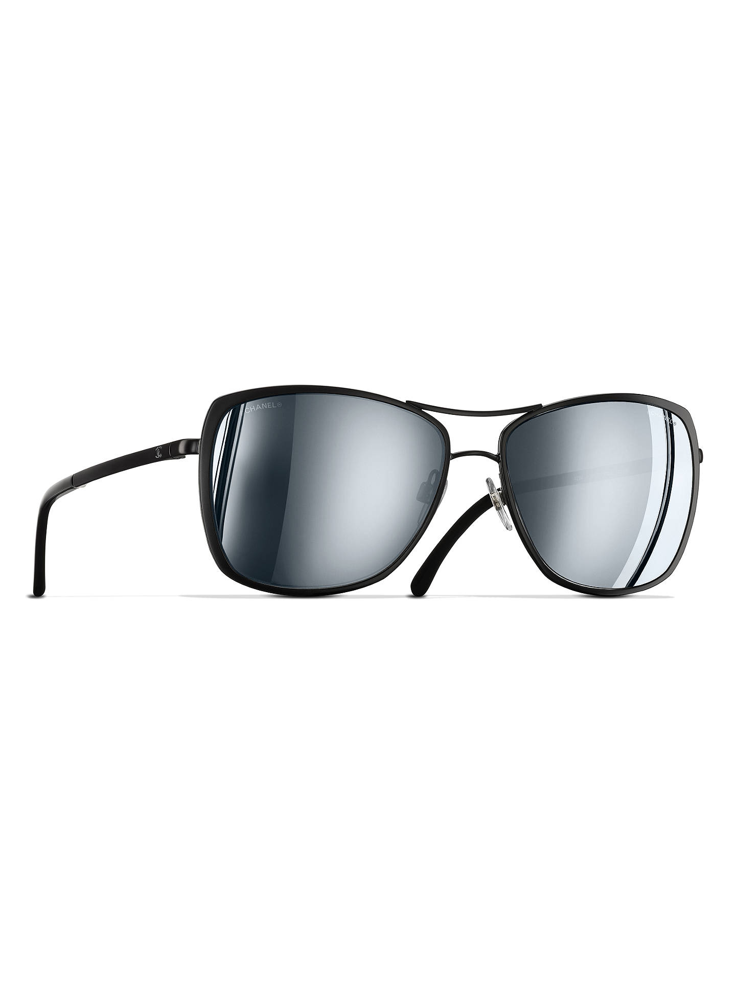 BuyCHANEL Pilot Sunglasses CH4224 Black Online at johnlewis.com ... 43bdee0ccd6