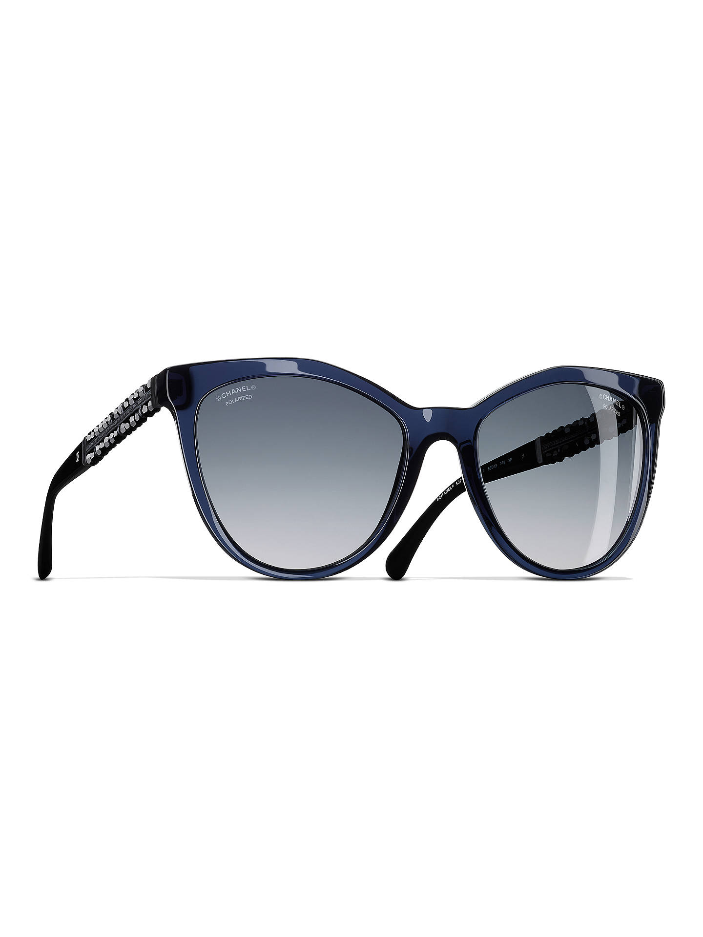 6816f56a188 BuyCHANEL Polarised Butterfly Sunglasses CH5376B Dark Blue Online at  johnlewis.com ...