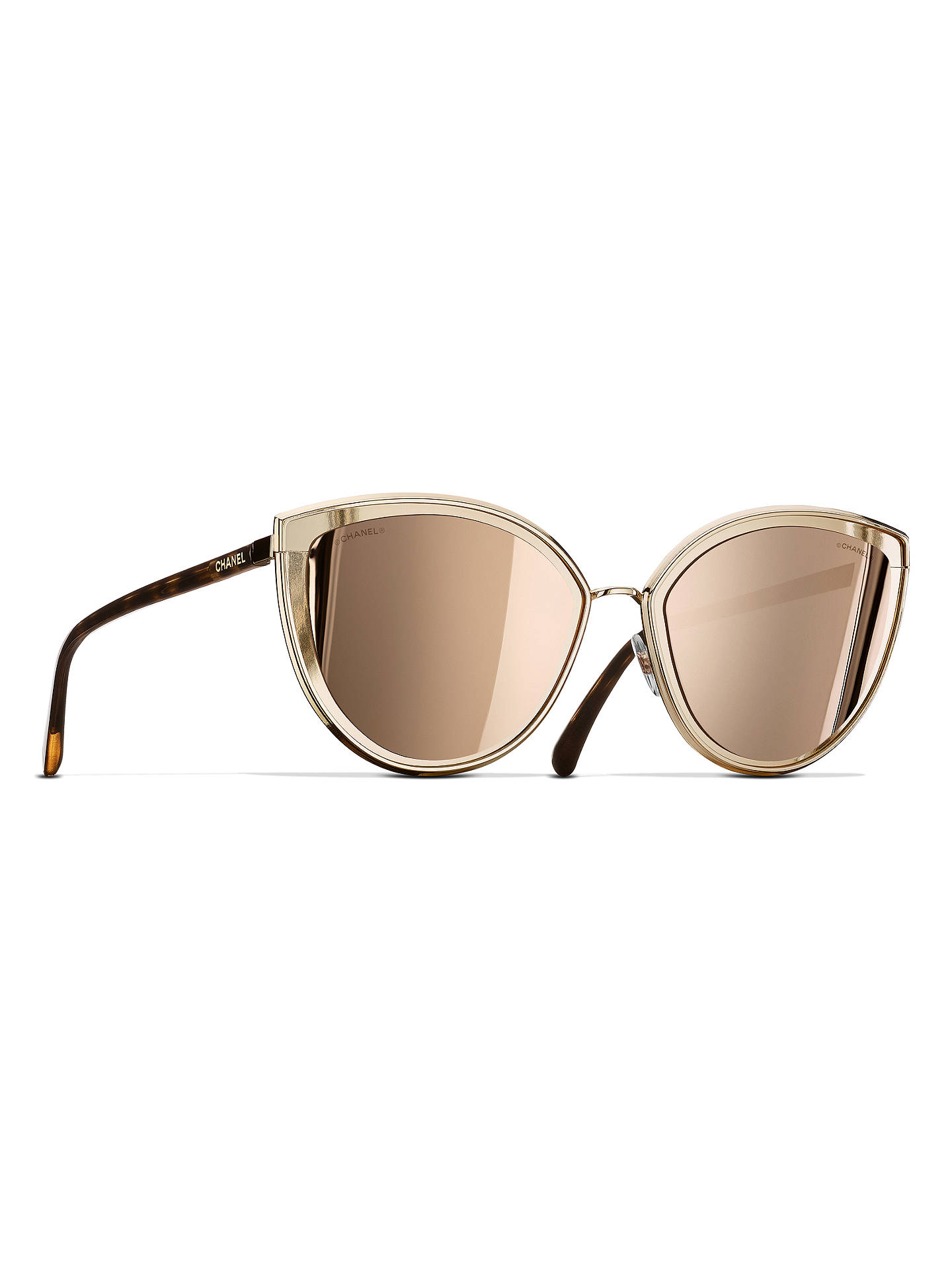 15439fe101 Buy CHANEL Cat Eye Sunglasses CH4222 Gold Online at johnlewis.com ...