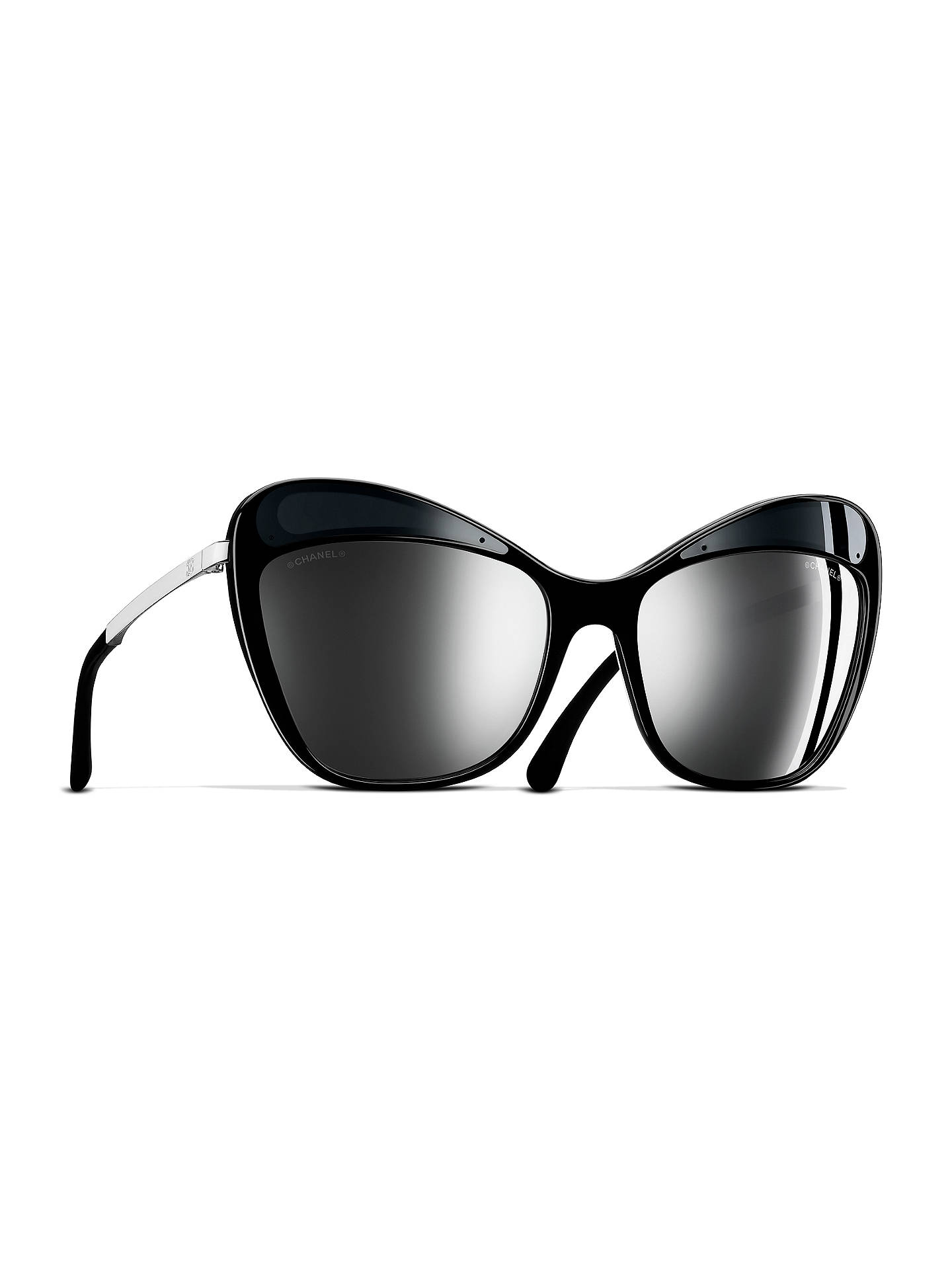c94ff16eda BuyCHANEL Butterfly Sunglasses CH5377 Silver Black Online at johnlewis.com  ...