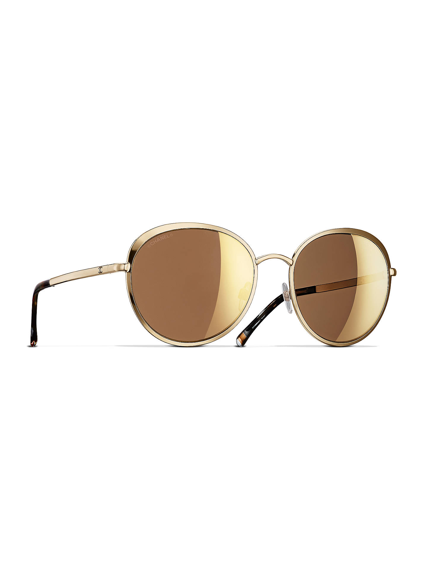 95d8616844cb Buy CHANEL Round Sunglasses CH4206 Gold Online at johnlewis.com ...