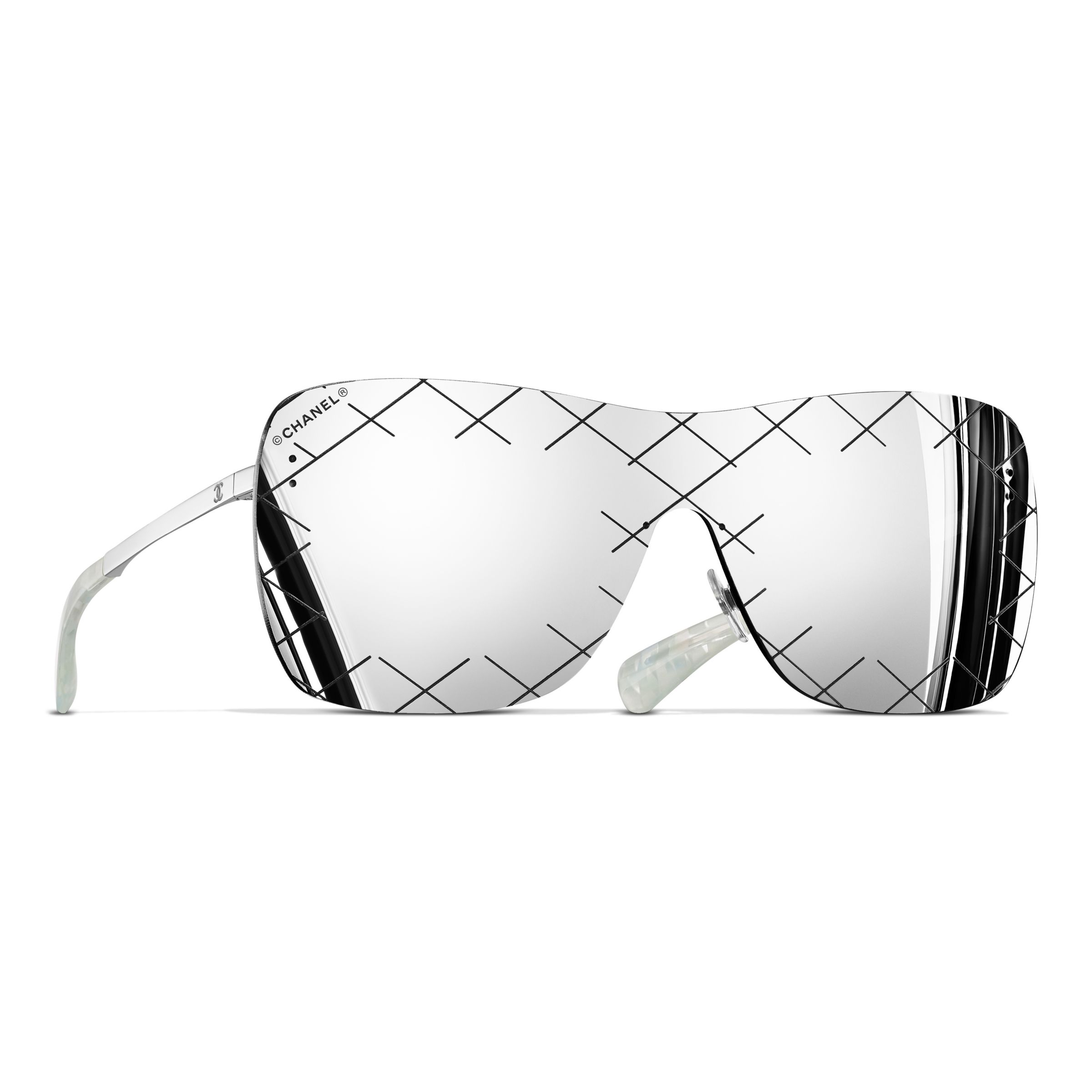 0b4a71f63e CHANEL Shield Sunglasses CH4215 Silver Grey at John Lewis   Partners
