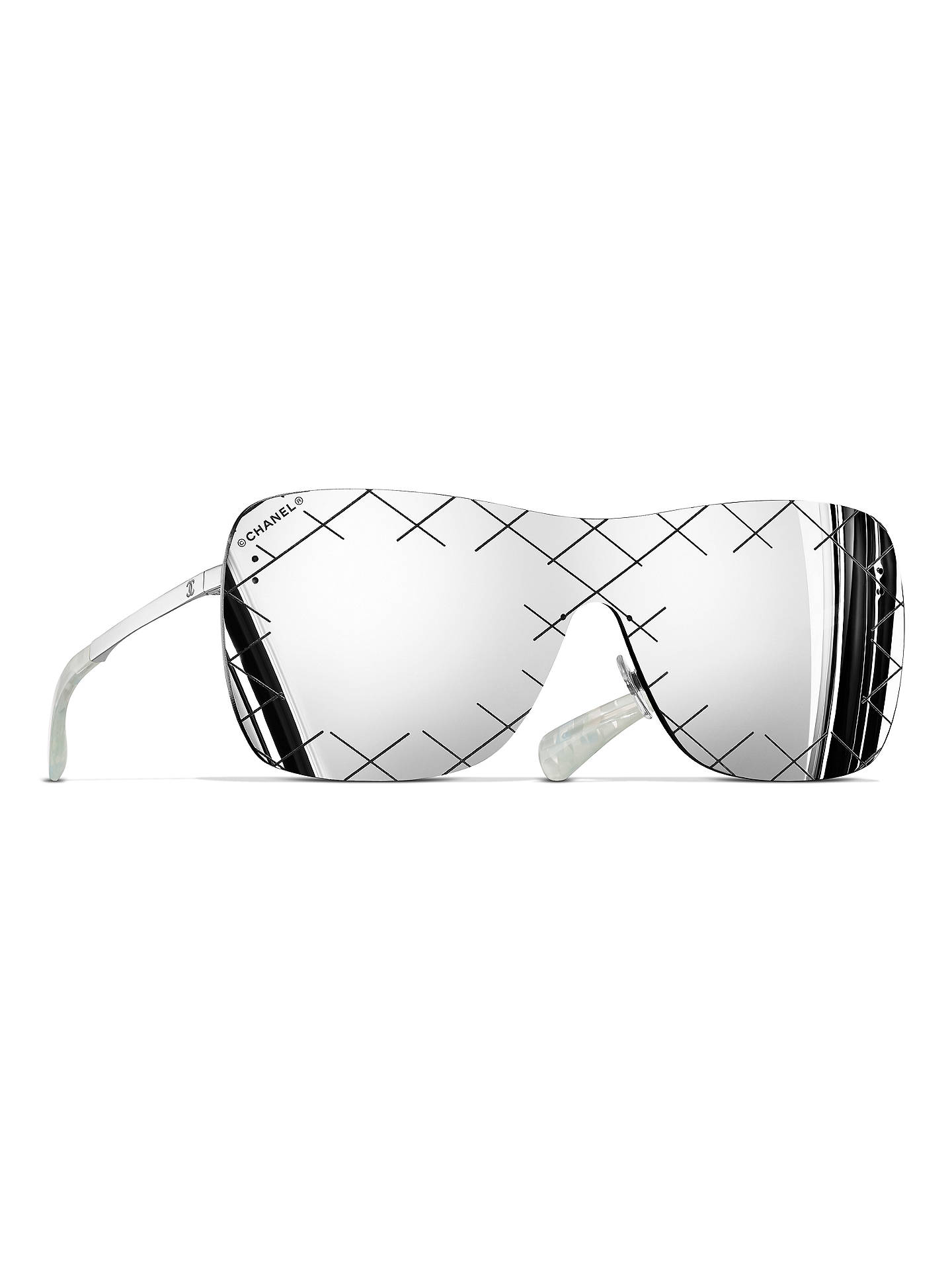 2ecccd03edc BuyCHANEL Shield Sunglasses CH4215 Silver Grey Online at johnlewis.com ...
