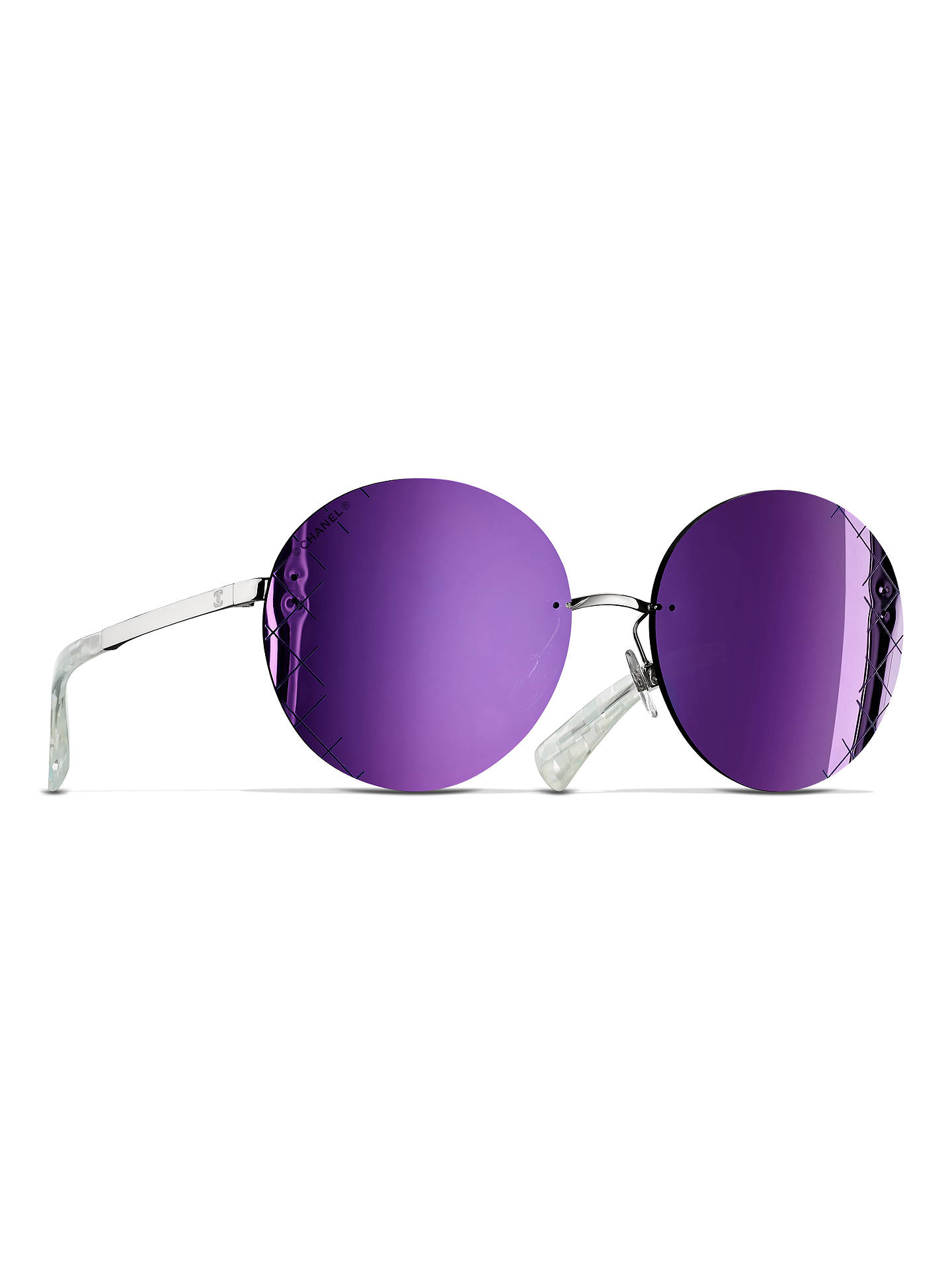 0fc2f2d39fa8 Buy CHANEL Round Sunglasses CH4216 Silver Purple Online at johnlewis.com ...