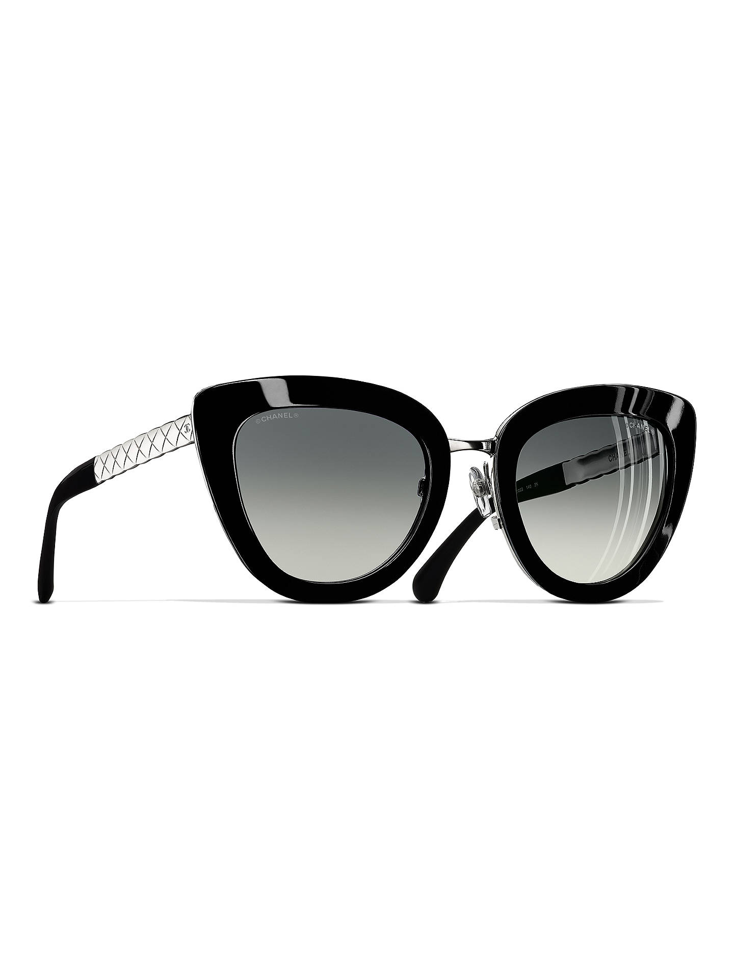 CHANEL Cat Eye Sunglasses CH5368 Black/Silver at John Lewis & Partners
