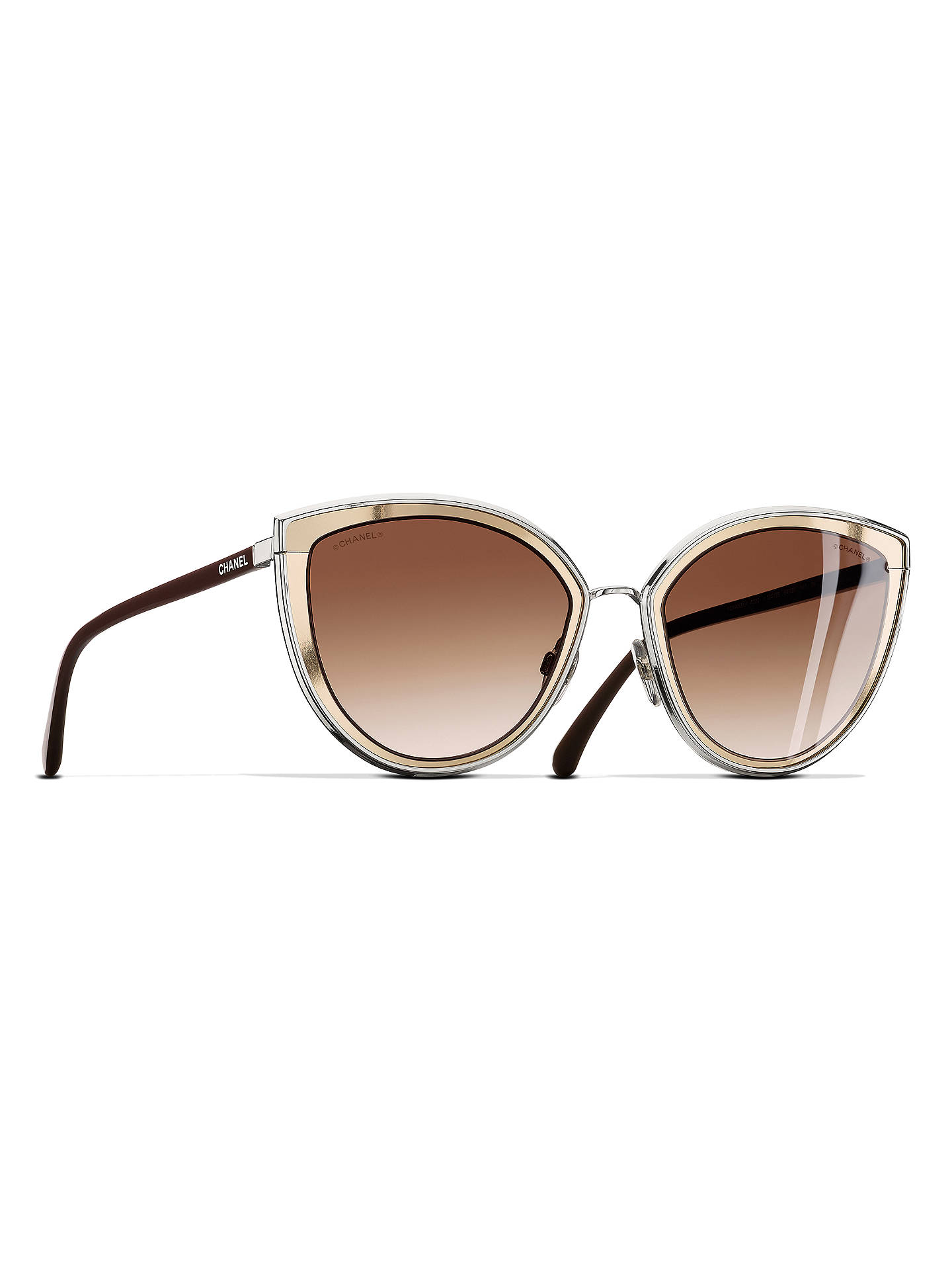 CHANEL Cat Eye Sunglasses CH4222 Silver at John Lewis & Partners