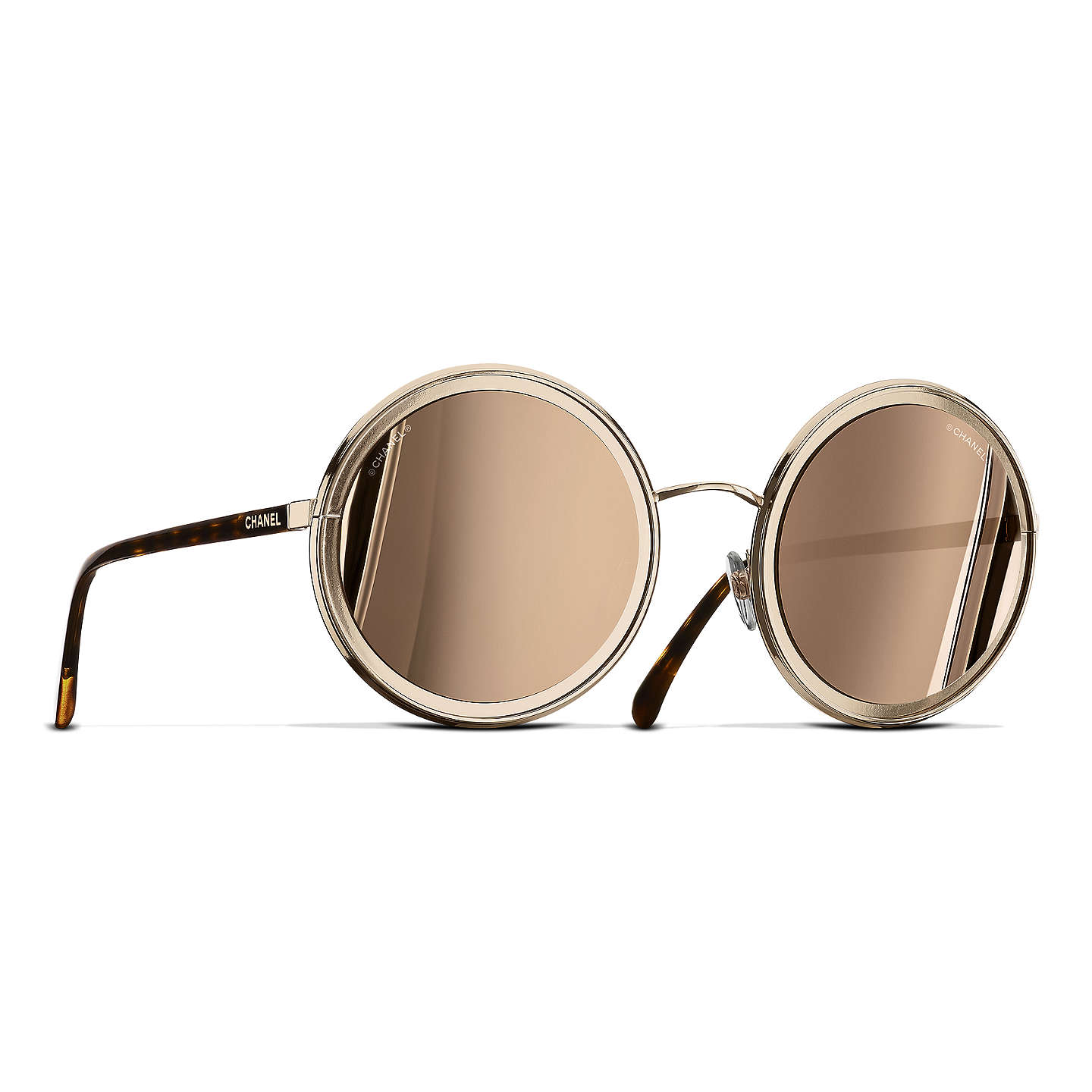 CHANEL Round Sunglasses CH4226 Gold at John Lewis