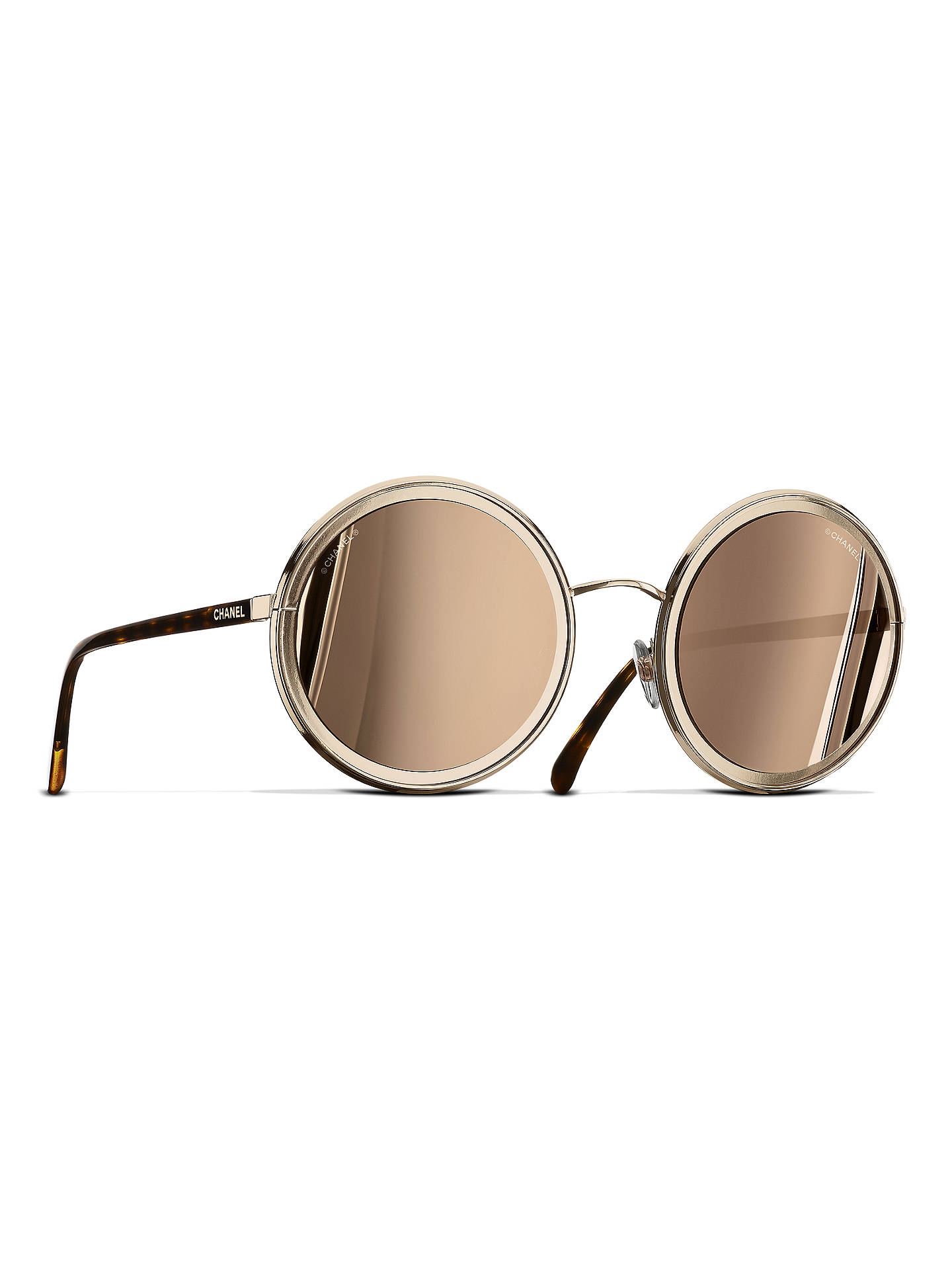 787c82a2cf Buy CHANEL Round Sunglasses CH4226 Gold Online at johnlewis.com ...