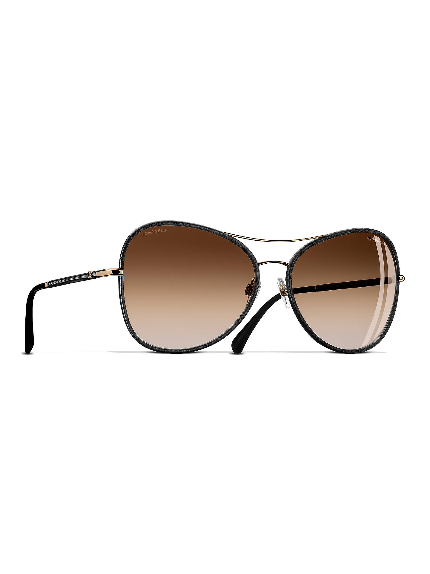 a668cfc09c BuyCHANEL Pilot Sunglasses CH4227Q Black Gold Online at johnlewis.com ...
