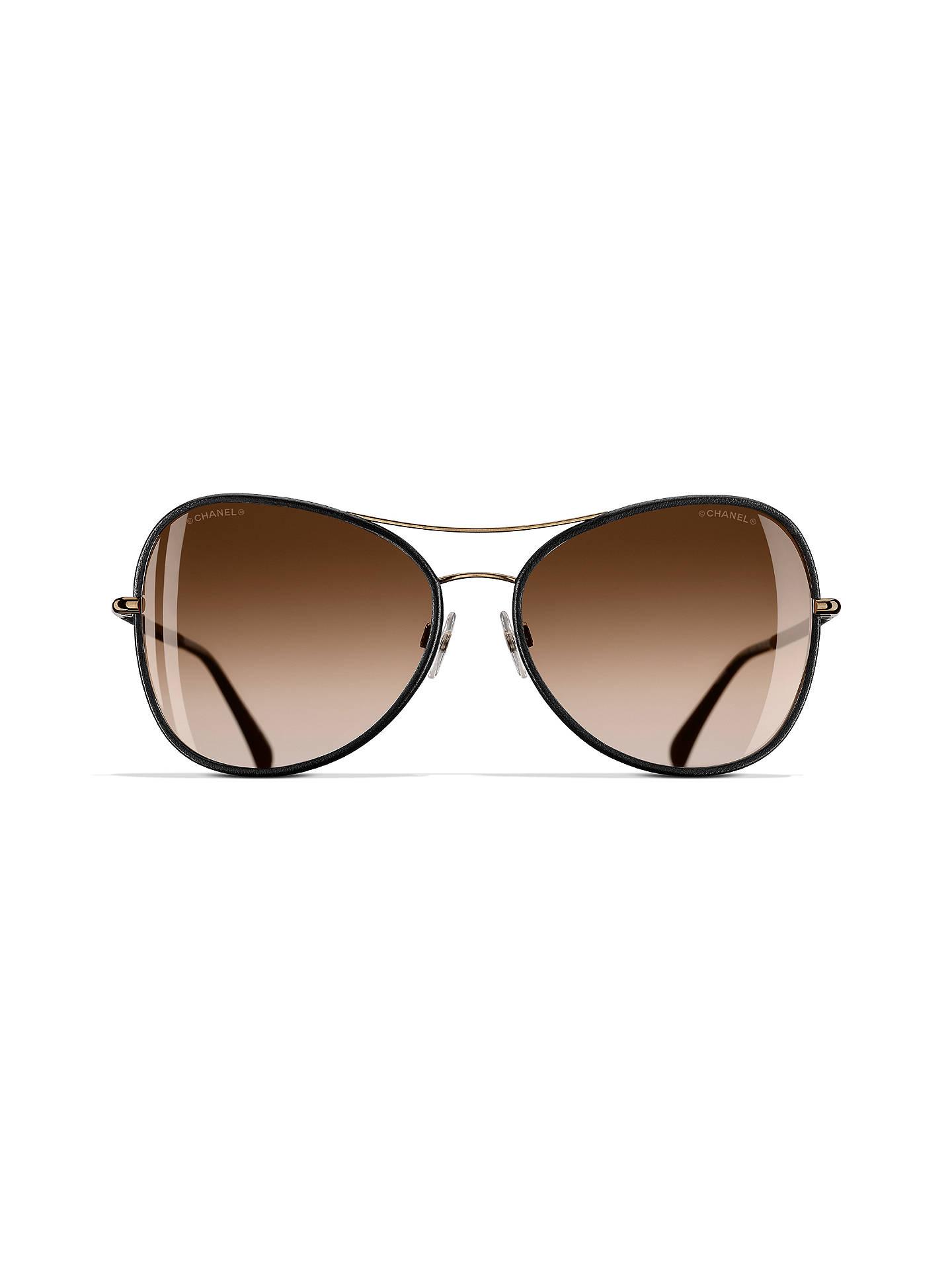 2b5c09b9d46 ... Buy CHANEL Pilot Sunglasses CH4227Q Black Gold Online at johnlewis.com  ...