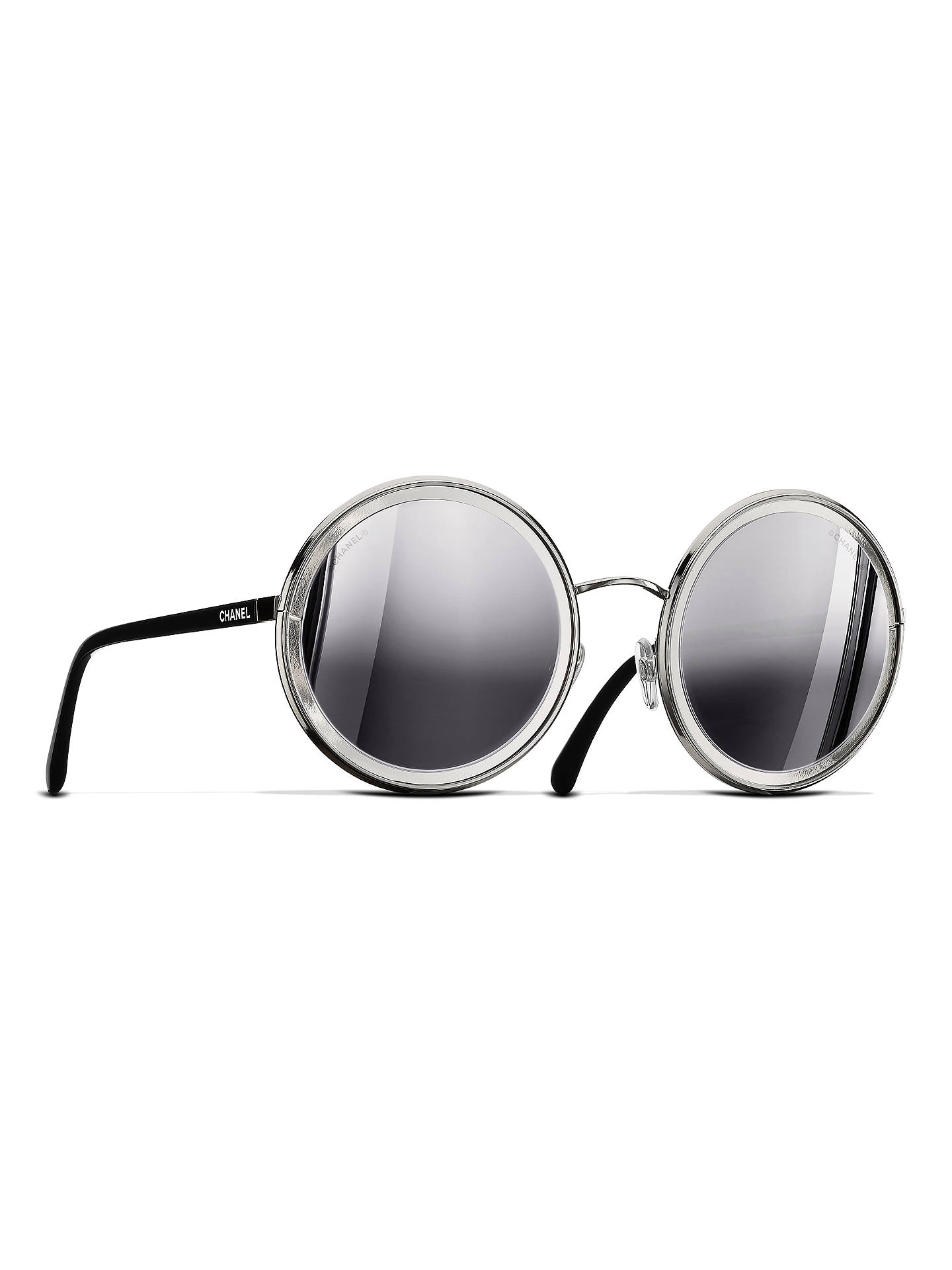 1dcbef6e9135 Buy CHANEL Round Sunglasses CH4226 Silver Online at johnlewis.com ...