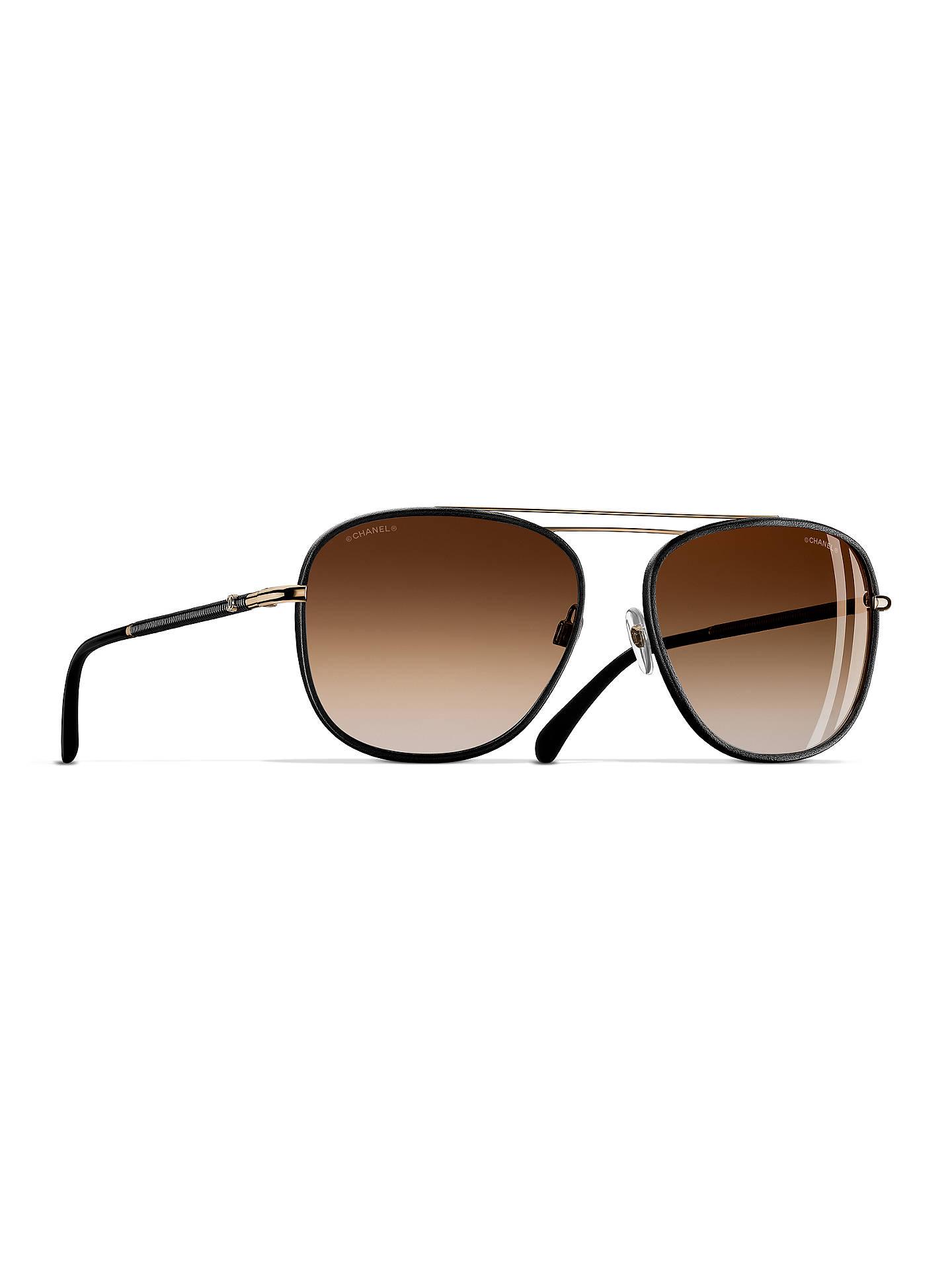 d08b1d010d313 Buy CHANEL Pilot Sunglasses CH4230Q Black Gold Online at johnlewis.com ...