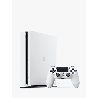 Image of Sony PlayStation 4 Slim Console with DUALSHOCK 4 Controller, 500GB, Glacier White