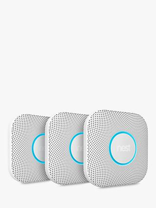 Nest Protect Smoke + Carbon Monoxide Alarm, Battery, Pack of 3