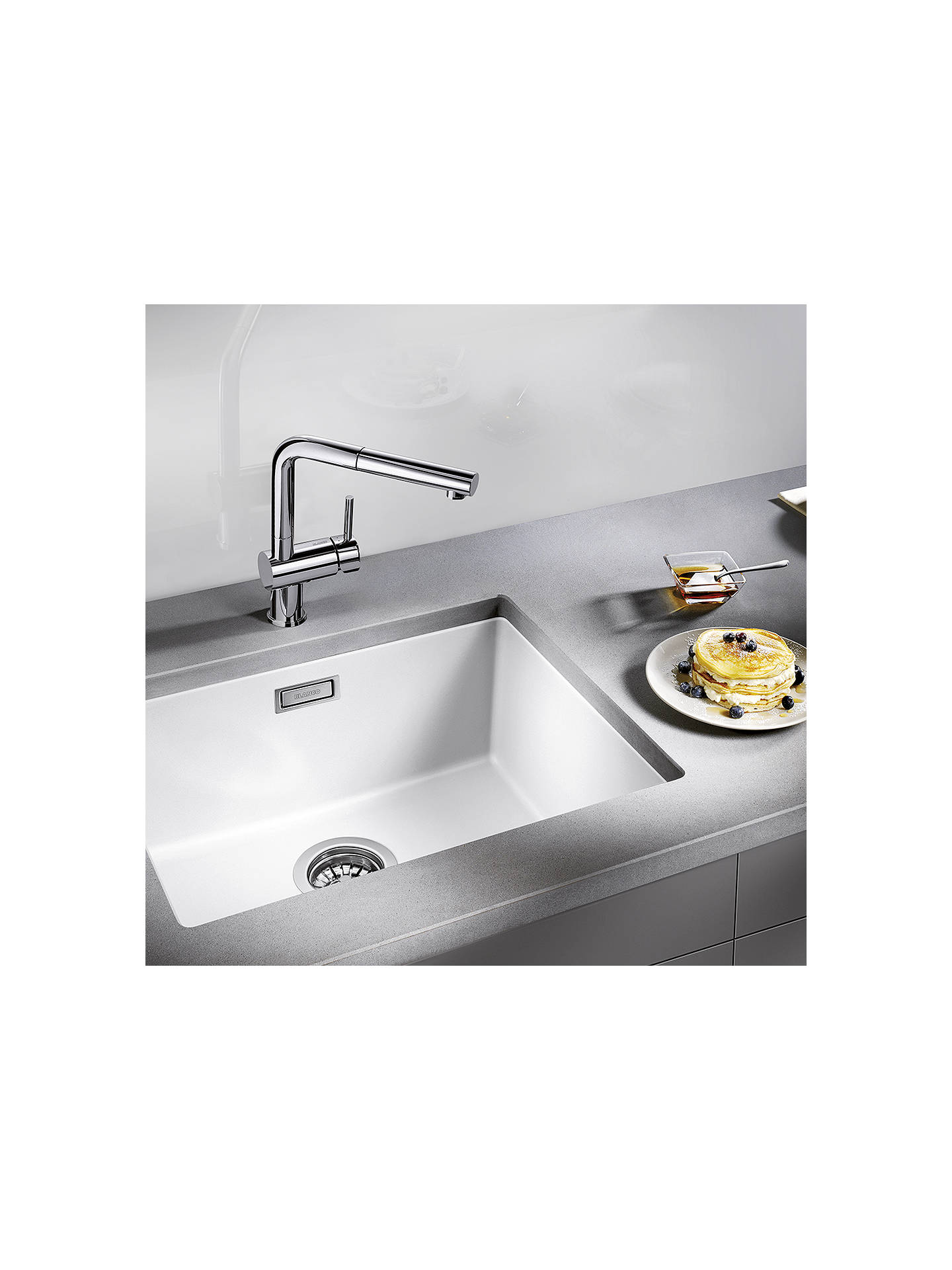 Buy Blanco Subline 500-U Single Bowl Undermounted Composite Granite Kitchen Sink, White Online at johnlewis.com
