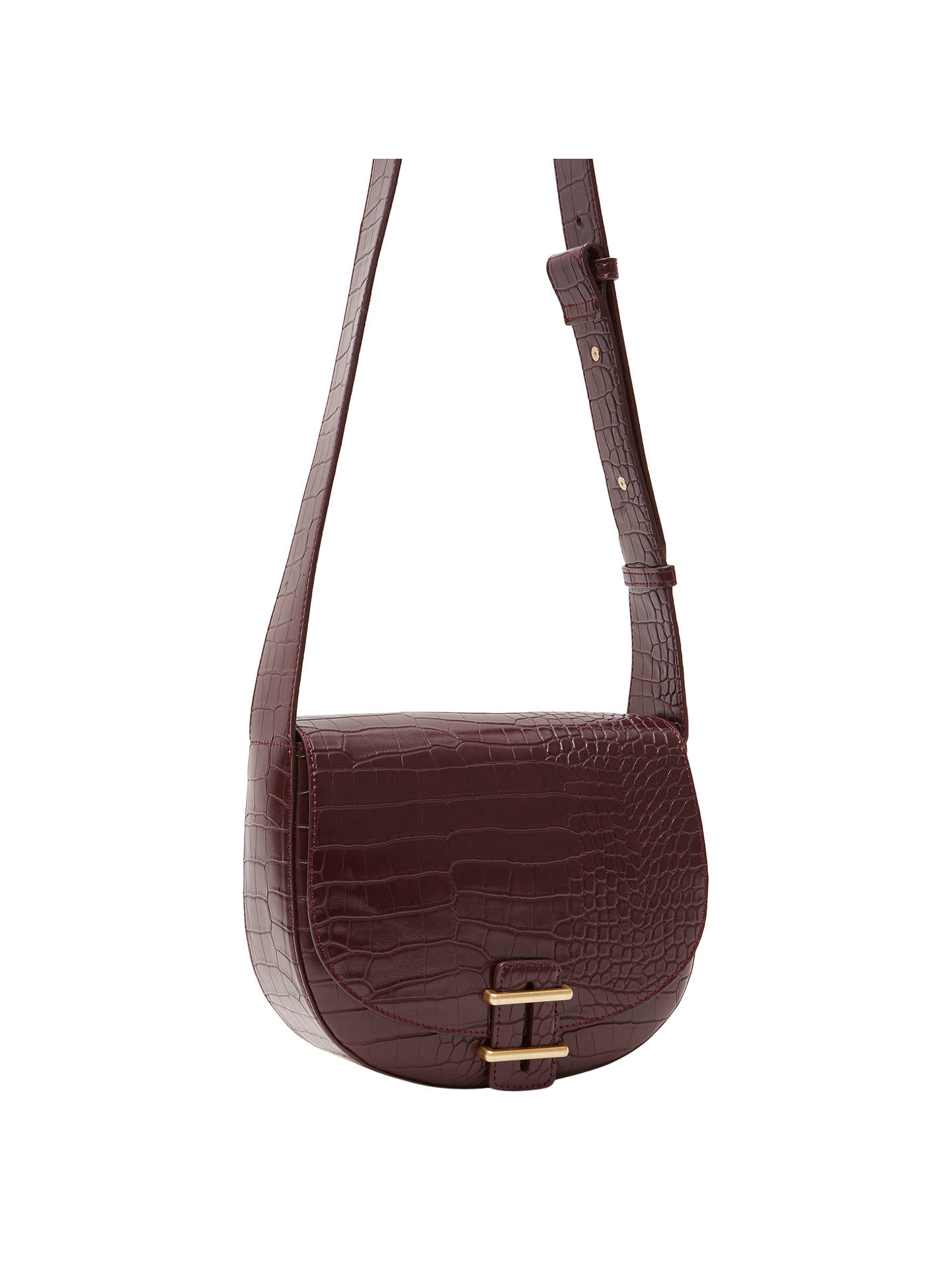 French Connection Contemporary Slide Lock Magda Cross Body Bag Chocolate Chili Croc Online At Johnlewis