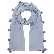 Buy Jigsaw Solange Wool Pom Pom Scarf, Pitch Blue Online at johnlewis.com