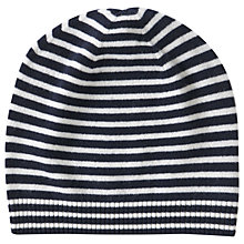 Buy Pure Collection Cashmere Stripe Hat, Navy Stripe Online at johnlewis.com
