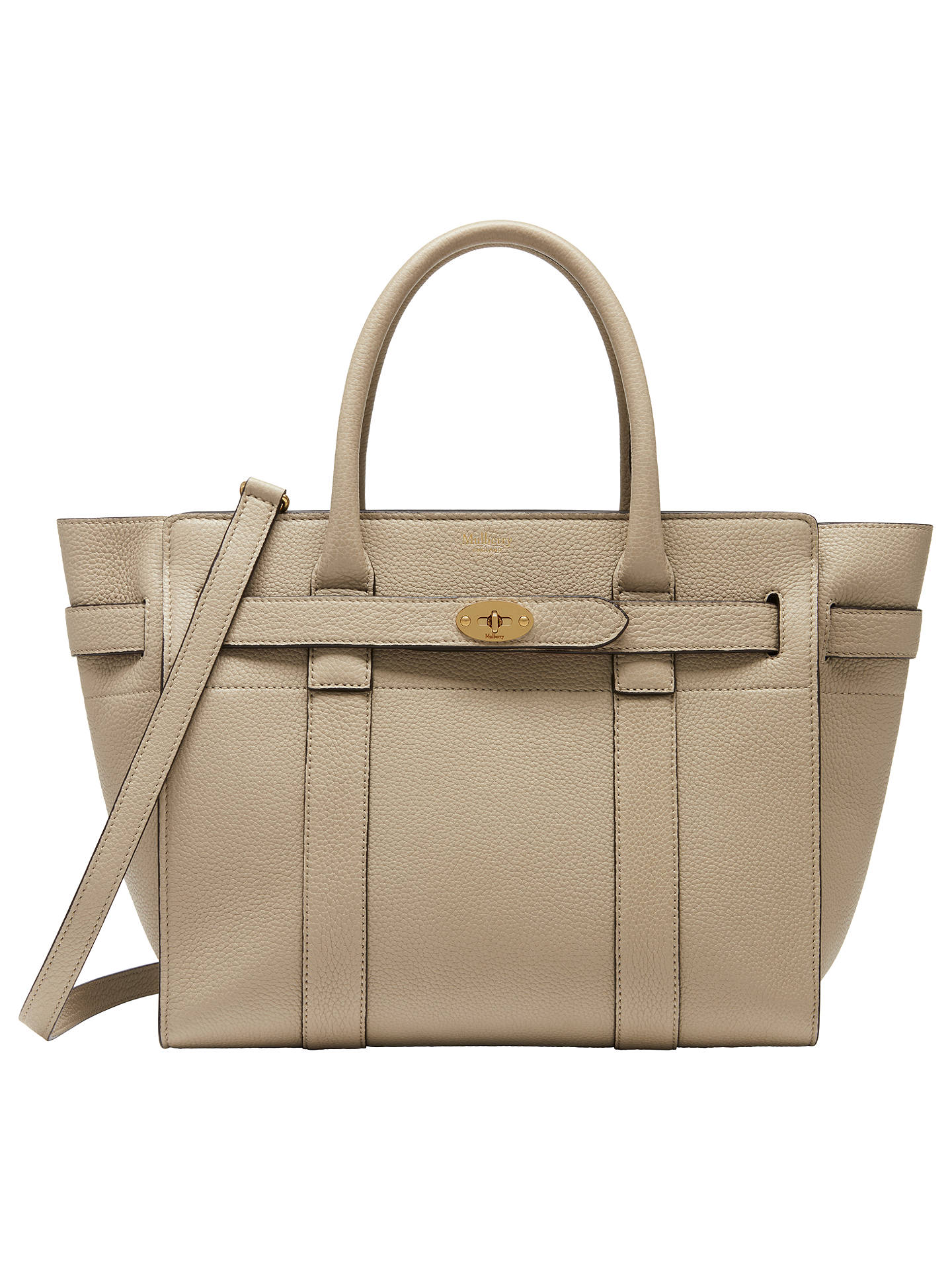 40d53398fa8 BuyMulberry Bayswater Small Classic Grain Leather Zipped Bag, Dune Online  at johnlewis.com ...
