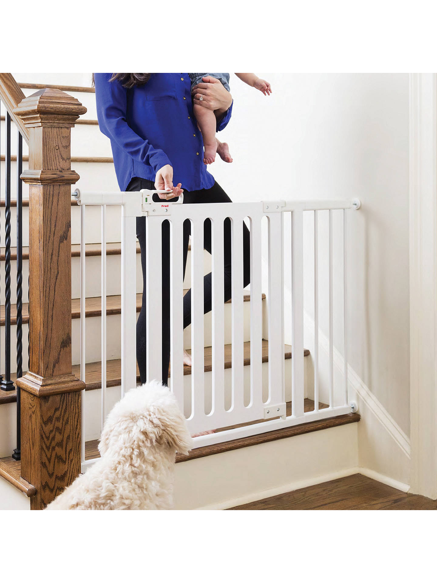 Fred Pressure Fit White Wood Safety Gate