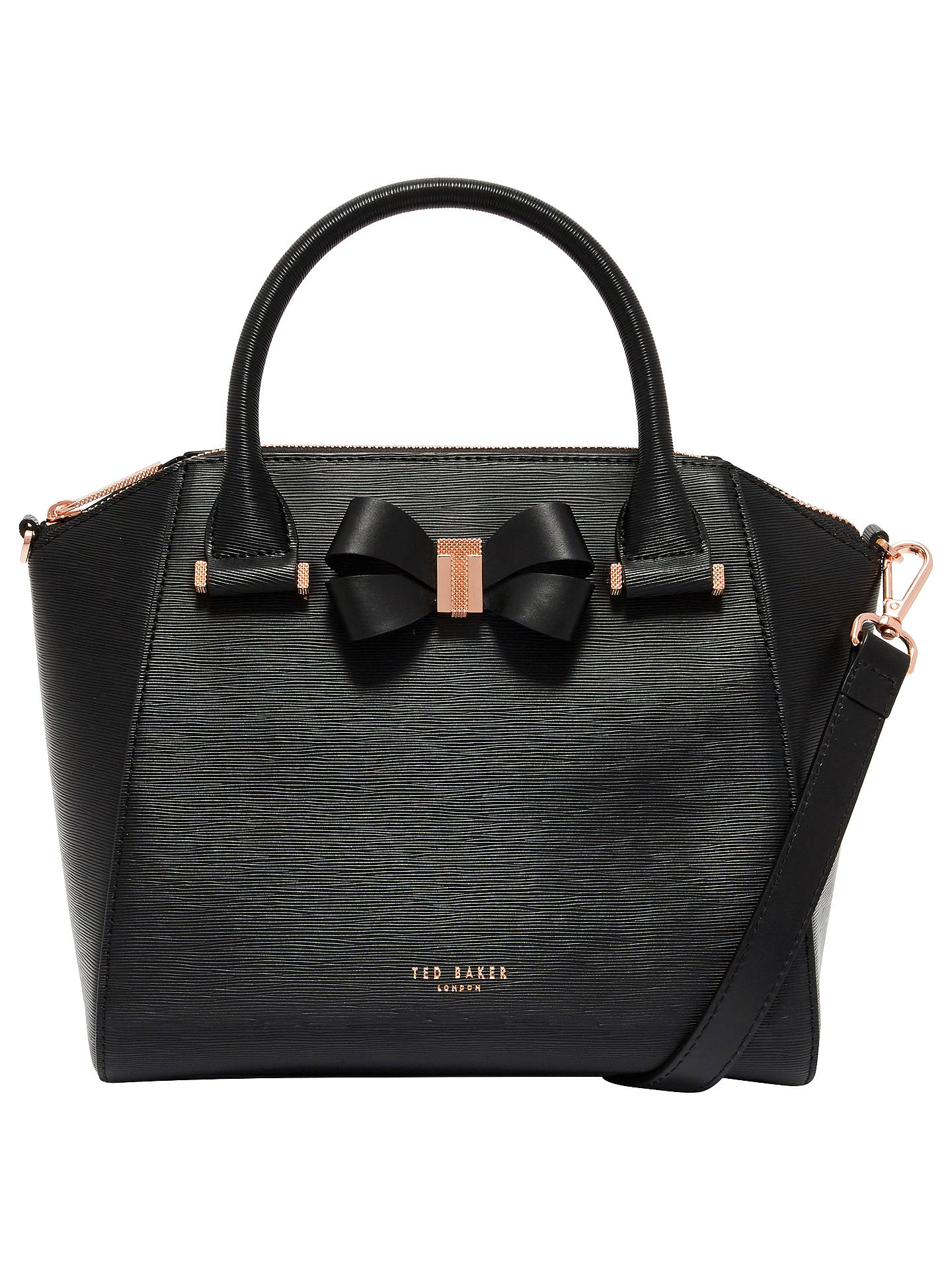 fe330946f1a Buy Ted Baker Bow Detail Leather Small Tote Bag, Black Online at  johnlewis.com ...