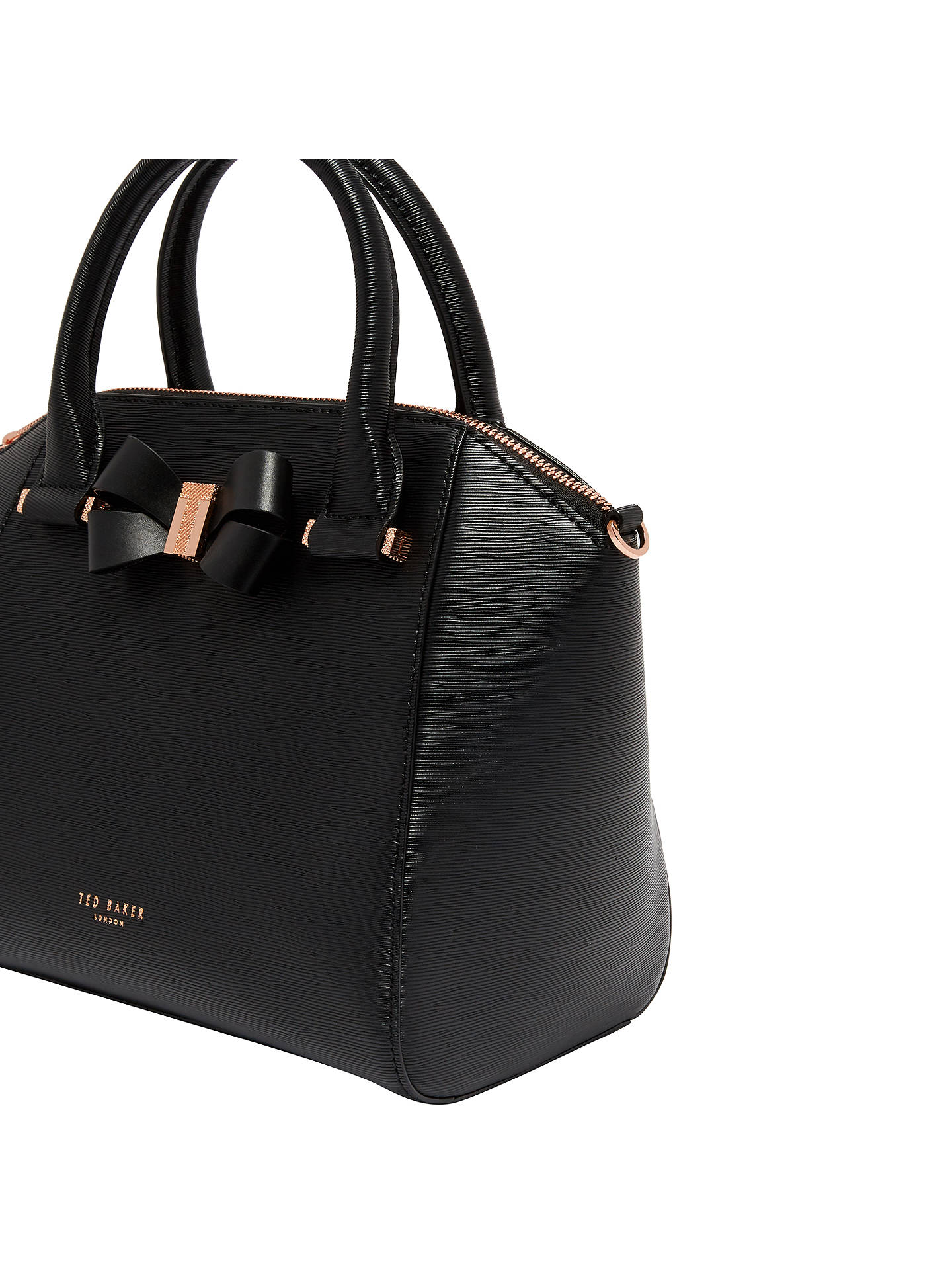 03c75b1aad9 Ted Baker Bow Detail Leather Small Tote Bag, Black