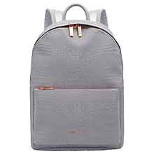 Buy Ted Baker Rahri Reflect Croc Effect Backpack, Light Grey Online at johnlewis.com