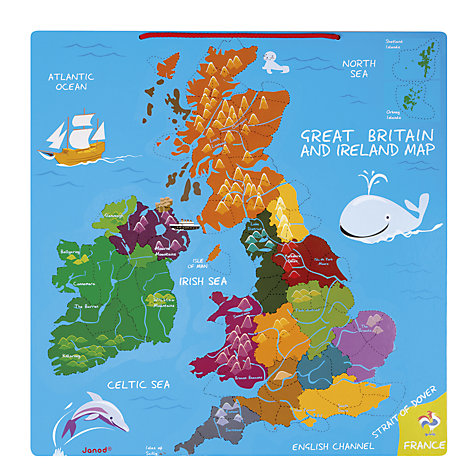 Buy Janod Great Britain And Ireland Wooden Magnetic Map Puzzle - Magnetic us map puzzle janod