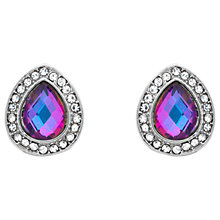 Buy Monet Glass Crystal Teardrop Stud Earrings, Silver/Lilac Online at johnlewis.com