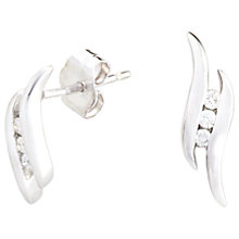 Buy A B Davis 9ct White Gold Diamond Wave Drop Earrings Online at johnlewis.com