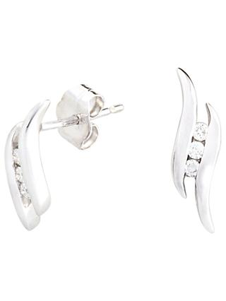 A B Davis 9ct White Gold Diamond Wave Drop Earrings