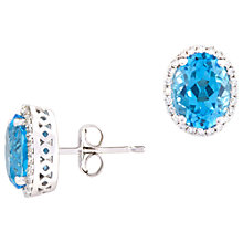 Buy A B Davis 9ct Gold Oval Diamond Stud Earrings Online at johnlewis.com