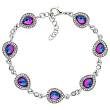Buy Monet Teardrop Glass Crystal Bracelet, Silver/Lilac Online at johnlewis.com