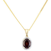 Buy A B Davis 9ct Gold Diamond Oval Pendant Necklace Online at johnlewis.com