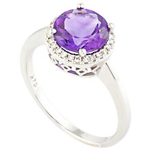 Buy A B Davis 9ct White Gold Round Amethyst Diamond Set Cocktail Ring Online at johnlewis.com